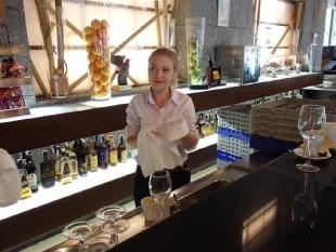 Alicja w trakcie codziennego serwisu w lobby hotelowym